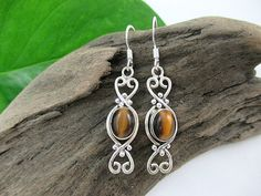 Natural Tigers Eye Earrings Sterling Silver Brown by SimpleGem, $24.00