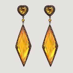 Elongated Diamond Shape Silver Earrings With Citrine & Smoky Quartz (115 K)  £598 (81607)