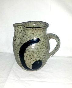 Vintage Pottery Pitcher,Thrown Pottery Pitcher,Stoneware Pitcher,Artist Signed,Pinched Pottery,Speckled,Rustic,Primative,Vintage Pottery by JunkYardBlonde on Etsy