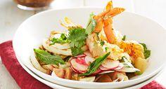 Barbecue garlic prawn and calamari salad with radish and mint