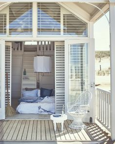 Sleeping porch. In the hot summer I am so ready to go back to sleeping on a futon on the cool floor ♡