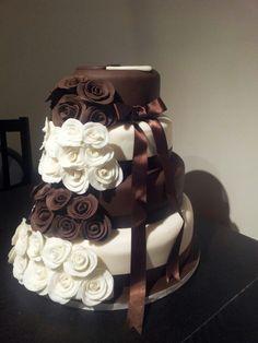 Brown and cream wedding cake