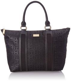 Tommy Hilfiger Lyla Nylon Tote Top Handle Bag, Black, One Size