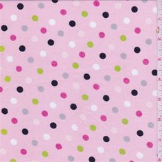 Light pink background with hot pink, bright lime, white, black and grey dotprint. This very lightweight cotton fabric is soft!Compare to $12.00/yd
