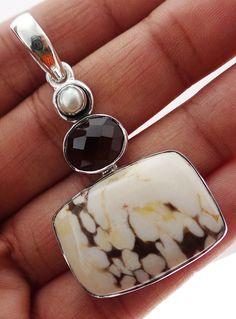 Peanut Wood  Jasper 925 Solid Sterling silver Pendant Jewelry (PNW-3) #Rananjay #HandmadePendant