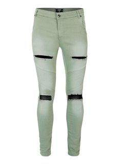 SIKSILK Light Green Distressed Extreme Skinny Jeans*