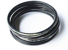 Black bracelet stack set of 10 black bangle by Fineoxjewelry, $17.50