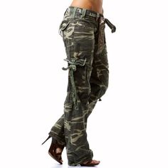 Women's Military Style Cargo Pants | Camouflage Women Military Cotton Belted…