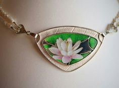 Waterlily, cloisonne enamel, 925 silver by Renate Monsees