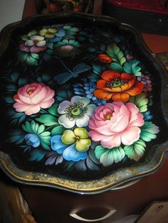 One Stroke Painting, Tole Painting, Hand Painted Furniture, Diy Furniture, Russian Folk Art, Art Decor, Tray, Arts And Crafts, Floral