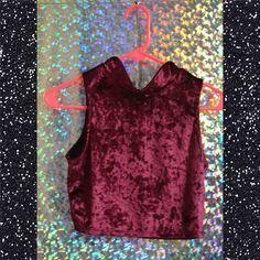 ✨DARK WINE ZIPPER CROP✨ SIMPLE & TIMLESS RED/BURGUNDY VELVET CROP WITH A ZIPPER IN THE BACK THAT GOES HALFWAY Nasty Gal Tops