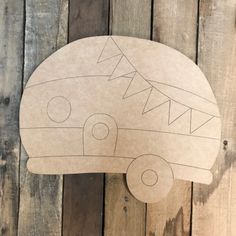 Camper with Banner, Unfinished Wooden Cutout Craft, Paint by Line Cross Door Hangers, Burlap Door Hangers, Wooden Cutouts, Wooden Shapes, Door Hanger Template, Wooden Picture Frames, Stained Glass Patterns, Wooden Crafts, Wooden Letters