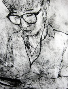 Drypoint study of classmate by Louis Park, Year 12 AS Art