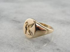 Lion of Venice, St Marks Lion, Winged Lion Crest, Ladies Gold Signet from marketsquarejewelers on Ruby Lane