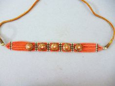 Anthropologie Inspired Gold Tribal Beaded Choker by JadeEclectic http://etsy.me/1w8YD3S @Etsy #Necklace #Coral #Jewelry #Ethnic #Gypsy #Boho