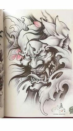 Japanese Tiger Tattoo, Japanese Tattoo Designs, Japanese Sleeve Tattoos, Tattoo Mascara, Mascara Oni, Hannya Mask Tattoo, Hanya Tattoo, Tattoo Sketches, Tattoo Drawings