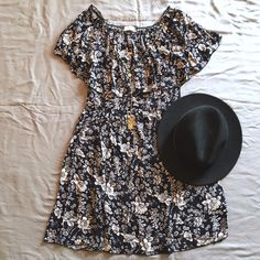 frilled off-shoulder dress [nwot] NWOT. Never Worn. Great Condition. Sizs M, TTS. Measurements will be added later. Light material. Unlined. Dark navy in color. [ necklace and hat are Not for sale ].   No Hold. No Trade. Price is Firm. Not Accepting Offers for this item. Dresses
