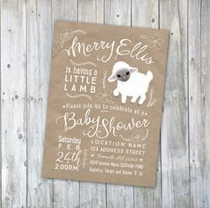 Little Lamb baby shower or baptism invitation! So cute!