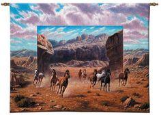 Running Horses Western Wall Art Hanging Tapestry