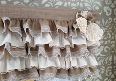 Burlap ruffles with lace trim with ornate handmade fabric flowers made to order in any size you request. Perfect for any shabby chic, cottage,