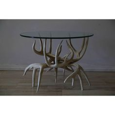 Vintage antler glass side table #huntersalley