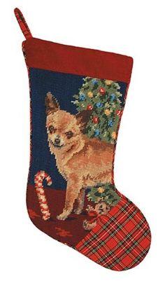 Festive Tan Chihuahua Dog Needlepoint Christmas Stocking