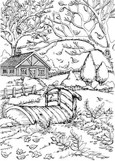 Welcome to Dover Publications Creative Haven Autumn Scenes Coloring Book Fall Coloring Sheets, Fall Coloring Pages, Christmas Coloring Pages, Coloring Pages To Print, Coloring Pages For Kids, Coloring Books, Kids Coloring, Printable Adult Coloring Pages, Autumn Scenes