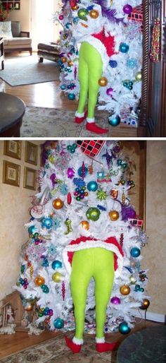 DIY Christmas Grinch (for Indoor or Outdoor Tree) | Click Pic for 21 DIY Christmas Outdoor Decorations Ideas | Front Porch Christmas Decorating Ideas for Outside                                                                                                                                                     More