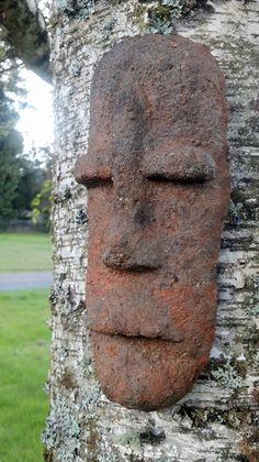 Unique, hypertufa sculpture, tiki tribal mask, concrete, cement, outdoor garden decor, art