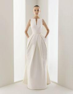 Modern, Architectural Wedding Dress by Rosa Clara | See More! http://heyweddinglady.com/fabulous-architectural-details-wedding-dress/