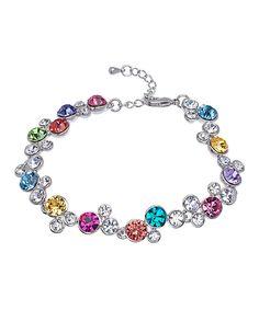 Purple & Aqua Cluster Bracelet With Swarovski® Crystals