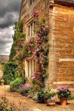 French country ~ flowers covering the wall around the window, not to mention the flowered path. Love it !