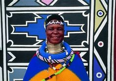 Esther Mahlangu - 80 year old South African Ndebele artist known for her bold large-scale contemporary paintings that reference her Ndebele heritage Contemporary African Art, Contemporary Paintings, South African Artists, Creative People, Biography, Childhood Memories, Scale, American, Collection