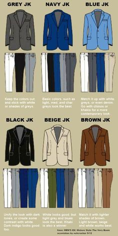 Trousers + Jacket color combos. | from: MEN'S EX: Mature Style The Very Basic. Scanlation by nutcracker 9/12