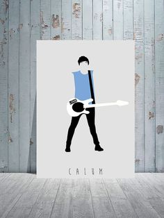 Calum Hood / 5 Seconds of Summer / 5SOS / Minimalistic Poster Art with light grey background.
