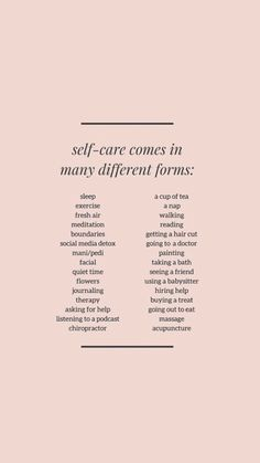 self care comes in many different forms Pretty Words, Beautiful Words, Vie Motivation, Motivational Quotes, Inspirational Quotes, Self Care Activities, Self Improvement Tips, Care Quotes, Self Love Quotes