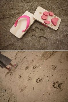 fun beach shoes OR wood stamps for sandbox and beach...simple shapes or letters