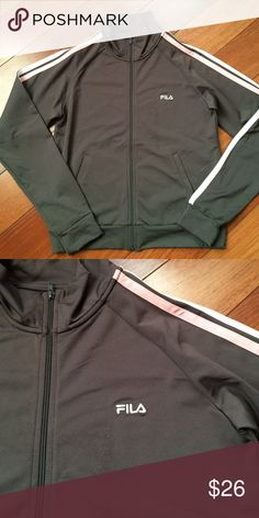 NWOT Fila Jacket Size S Brand new, great condition, 90% polyester/10% lycra. Gray with pink and white stripes. Residue from size sticker left by Fila logo, see pic. Should come off with first wash. Size small, comfortable fit. Fila Jackets & Coats