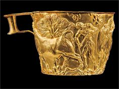Gold Vapheio Cup (Minoan): shows Minoan capturing bull