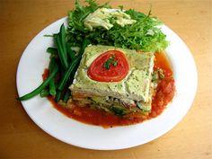 ... roasted Roma tomato sauce. Accompanied by a salad of arugula, red