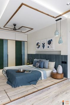 Colorful Interior Design, Contemporary Interior Design, Colorful Interiors, Interior Designing, Low Height Bed, Simple Ceiling Design, Design Your Own Home, Bedroom Furniture Design, Space Saving Furniture