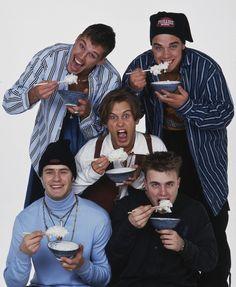 Take That - Mark Owen, Robbie Williams, Jason Orange, Gary Barlow and Howard Donald