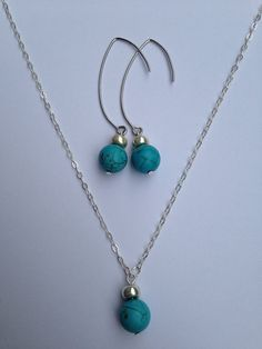 Turquoise Howlite Earring Necklace Set on Etsy, $20.00