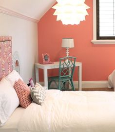 bedroom with coral peach accent wall, pantone blooming dahlia, coral peach, salmon pink CORAL PEACH BED ROOM Salmon Bedroom, Pink Room, Bedroom Themes, Pink Bedroom Walls, Bedroom Orange, Coral Bedroom, Living Room Photos, Bedroom Wall, Bedroom Color Schemes