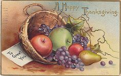 A Happy Thanksgiving To Greet You Fruit Basket Postcard