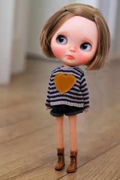 Petite.Doll hand-knitting striped red heart by PetiteDollcouture