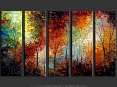 "Original art for sale by the artist. Canvas painting ""The Colorful Autumn"" by Canadian artist Lena Karpinsky."