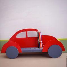 Купить Полка для детской Жук - ярко-красный, полочка, Полочки, полочка в детскую, декор детской