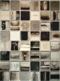 "Liaison-2010-12""x12"" panels, grid of 48 panels. Encaustic, pigment stick, pastels. Collaboration with Mark Rediske."