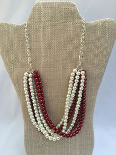 Trina - Gorgeous red and white layered peal necklace by Trinkets By Thandeka  http://etsy.me/27LJdn5 via @Etsy